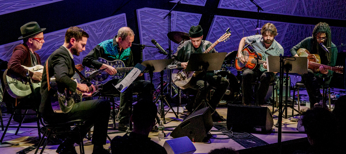 The Resophonic Guitar Orchestra (Joel Harrison, Elliott Sharp, Brandon Ross, James Moore, Will Bernard, and Pete Matthiessen): 03-15-17 National Sawdust (2017 Alternative Guitar Summit)